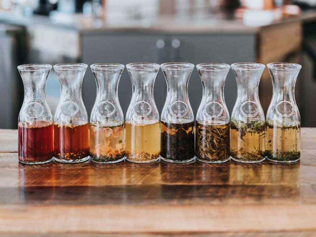 Different colors of tea